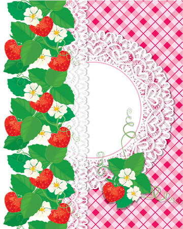 Card with Strawberries and lace circle frame on checkered pink background. Vector