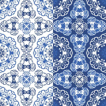 white napkin: Seamless blue color floral patterns. Ornamental Background.