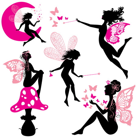 creature of fantasy: Set of silhouette fairy girls with butterflies and stars isolated on white background
