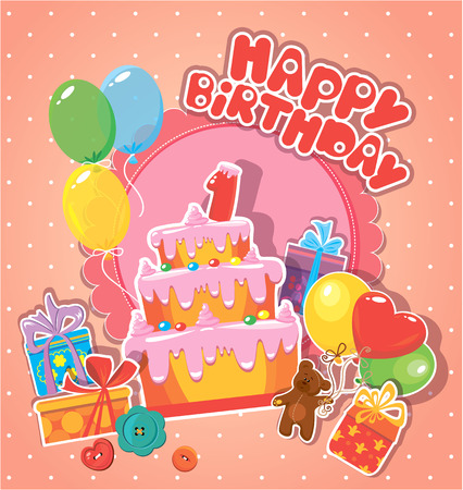 big boxes: Baby birthday card with teddy bear, big cake and gift boxes. One year anniversary