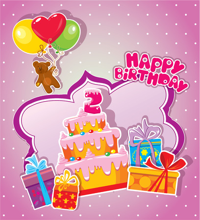 big boxes: Baby birthday card with teddy bear, big cake and gift boxes. Two years anniversary Illustration