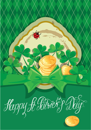 trifolium: Holiday card with calligraphic words Happy St. Patrick`s Day. Shamrock and golden coin on dark green background Illustration