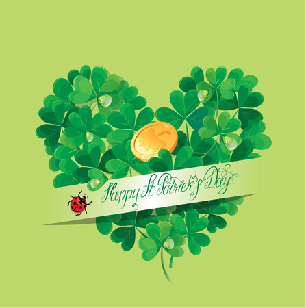 trifolium: Holiday card with calligraphic words Happy St. Patricks Day and Shamrock heart with golden coin on green background Illustration