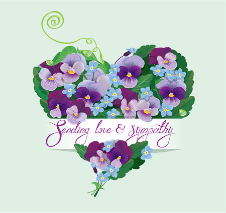 Heart shape is made of beautiful flowers - pansy and forget me not - floral  background for Birthday, wedding or Valentines Day design. Calligraphic text - Sending love and sympathy. Illustration