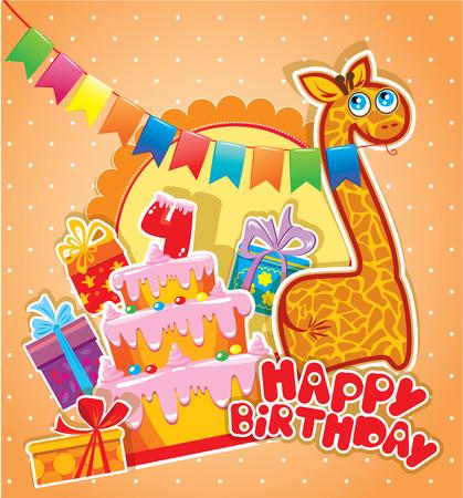 girafe: Baby birthday card with girafe, big cake and gift boxes. Four years anniversary