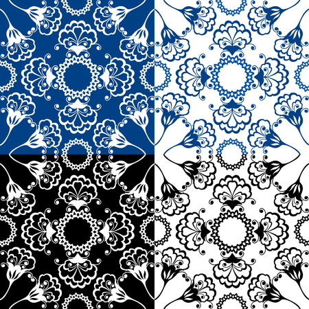 gzhel: Seamless blue color and black and white floral patterns. Ornamental Background. Illustration