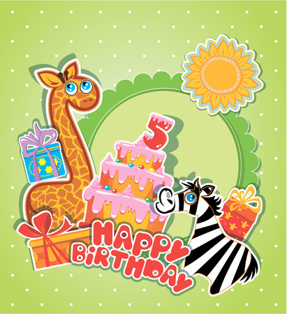 girafe: Baby birthday card with girafe and zebra, big cake and gift boxes. Five years anniversary