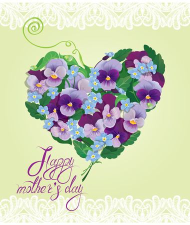 pansy: Heart shape is made of beautiful flowers - pansy and forget-me-not - floral background. Calligraphic text - Happy Mothers Day. Illustration