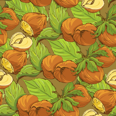 highly detailed: Seamless pattern with highly detailed handdrawn hazelnuts on brown background