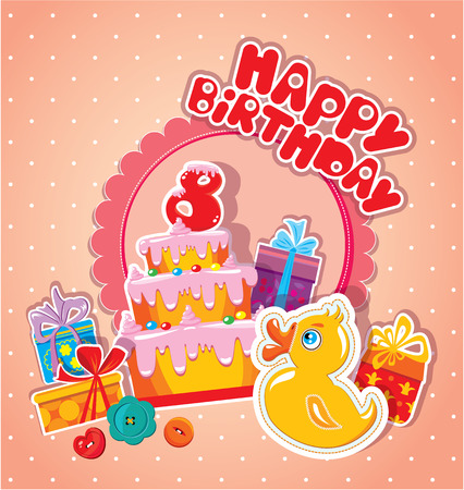 Baby birthday card with yellow duck, big cake and gift boxes. Eight years anniversary Vector