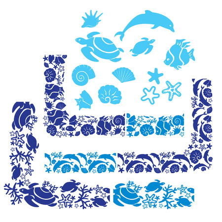 cockleshell: Set of elements, corners and borders with Underwater life - ornamental backgrounds.