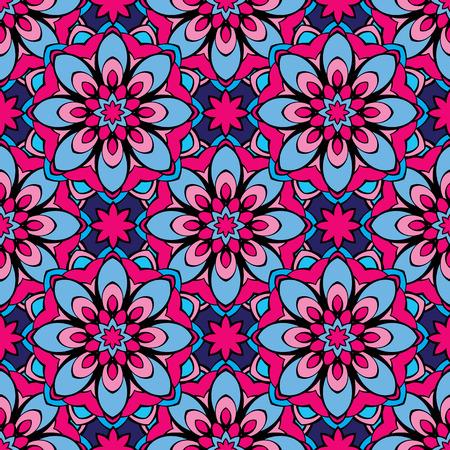 bandanna: Ssquared background - ornamental seamless pattern. Design for bandanna, carpet, shawl, pillow or cushion.