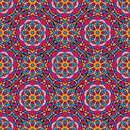 bandanna: Squared background - ornamental seamless pattern. Design for bandanna, carpet, shawl, pillow or cushion.