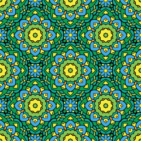 green carpet: Squared background - ornamental seamless pattern in green, yellow and blue colors. Design for bandanna, carpet, shawl, pillow or cushion. Illustration