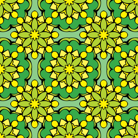 green carpet: Squared background - ornamental seamless pattern in green and yellow colors. Design for bandanna, carpet, shawl, pillow or cushion.