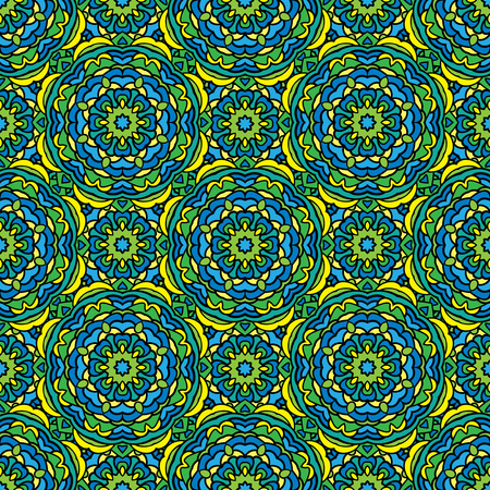 shawl: Squared background - ornamental seamless pattern in green, blue and yellow colors. Design for bandanna, carpet, shawl, pillow or cushion. Illustration