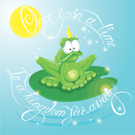 once: Frog Prince with Crown.  Calligraphic text  for your fairy tale and fantasy design: Once upon a time in a kingdom far away. Illustration