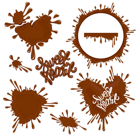 sweet heart: Set of Chocolate splashes, hearts, circle, drops, handwritten words Sweet Heart, isolated on white, abstract background.