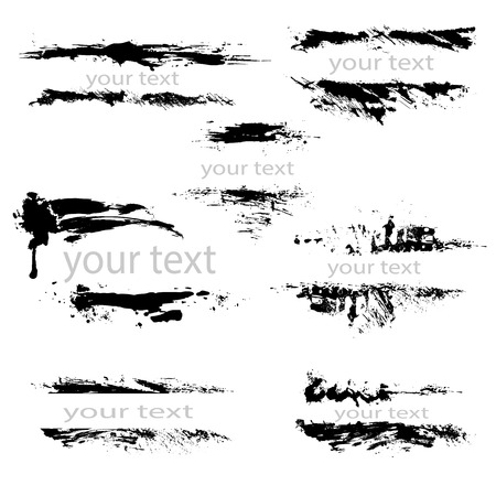 freehand: Set of black borders, isolated on white background, Design Abstract elements. Grunge texture.