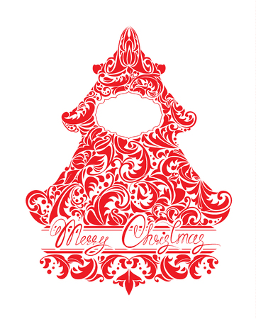 fur tree ornament: Holidays Card with abstract xmas fir tree - red floral lace ornament, frame and handwritten calligraphic text Merry Christmas, isolated on white background. Illustration