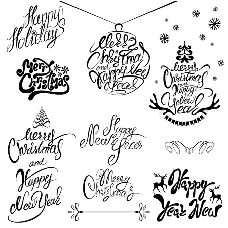 happy holidays: Collection of Merry Christmas and Happy New Year calligraphy handwritten texts for winter holidays design.