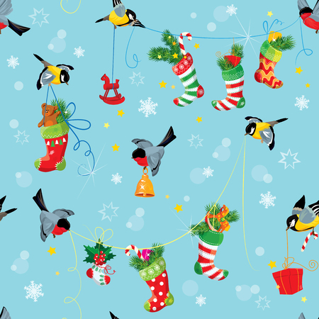 christmas gifts: X-mas and New Year background with Birds holding Christmas stockings, gifts and presents. Seamless pattern for winter holiday design.