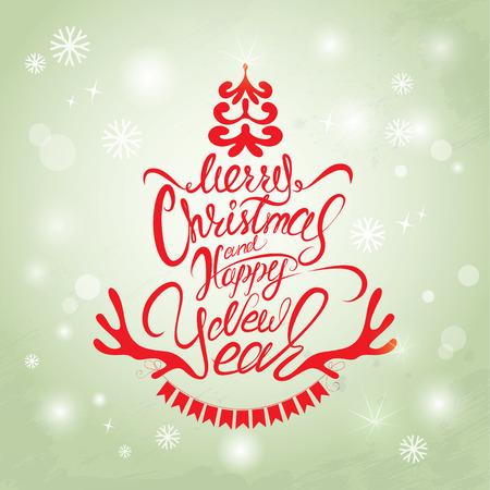 renna: Buon Natale e Felice Anno Nuovo Carta, calligrafia testo scritto a mano per le vacanze invernali progettazione.