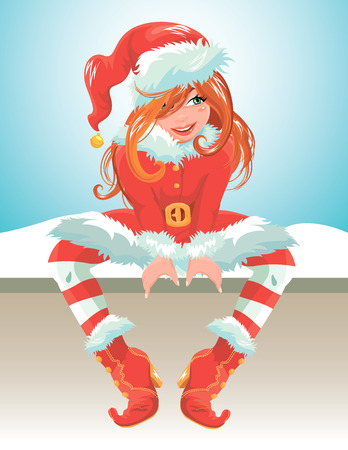 design costume: Red hair girl wearing red Santa Claus costume. Christmas and New Year card. Element for winter holidays design.