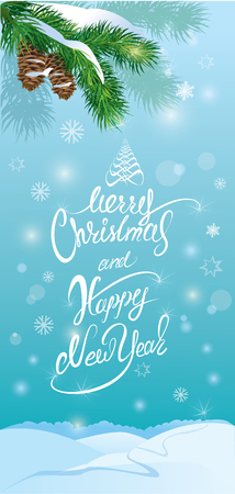 time of the year: Handwritten text Merry Christmas and happy New Year, holidays vertical banner or card with forest on light blue background in winter time.