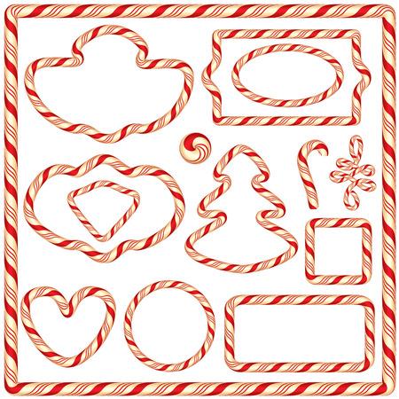 흰색 배경에 고립 된 사탕 프레임과 테두리, 겨울 휴가 디자인 요소의 집합입니다. 메리 크리스마스, 해피 뉴 테마.
