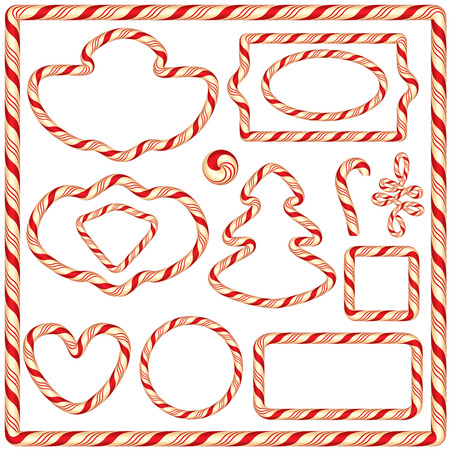 Set of Candy frames and borders, elements for winter holidays design, isolated on white background.  Merry Christmas and Happy New Year theme.