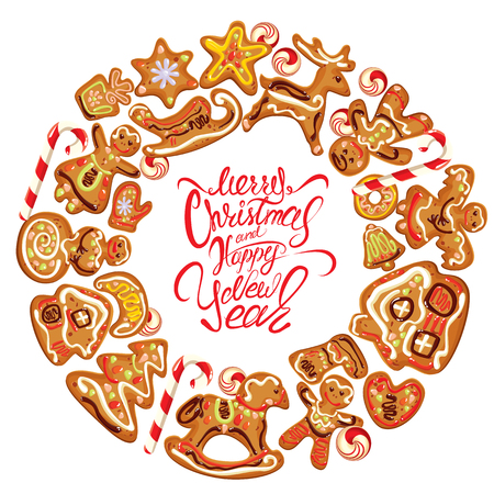 christmas cookies: Holiday card. Round frame with xmas gingerbread isolated on white - cookies in reindeer, star, moon, people, heart, house and fir-tree shapes. Calligraphic text Merry Christmas and Happy New Year Illustration