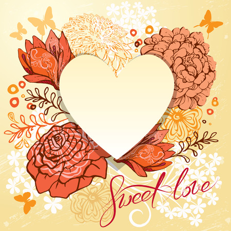 sweet heart: Retro background or greeting card with heart and flowers. Beautiful vintage design for Valentines Day, wedding, Birthday, etc. holidays. Calligraphic text Sweet love. Illustration
