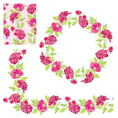 marcos decorativos: Conjunto de adornos - mano dibujada decorativo floral de la frontera, y marco de círculo patrón con flores de la dalia, aisladas sobre fondo blanco. Vectores