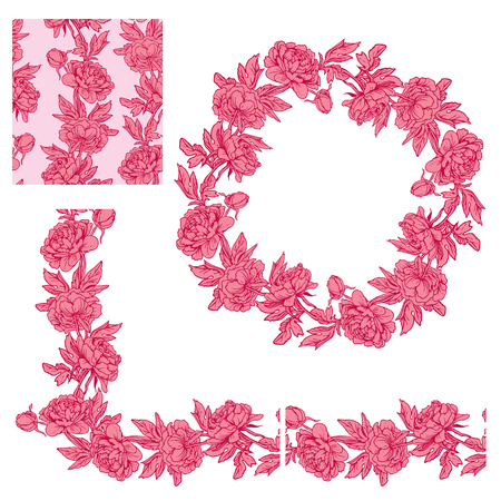 dahlia: Set of ornaments - decorative floral border,  circle frame and seamless pattern with dahlia flowers in red and pink colors, isolated on white background.