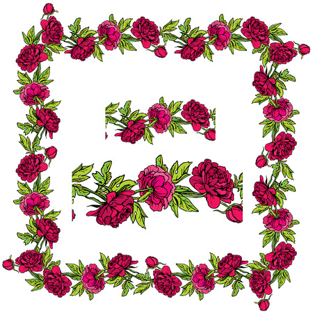 dahlia: Set of ornaments - decorative hand drawn floral border and frame  with dahlia flowers, isolated on white background. Illustration