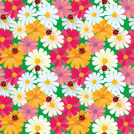 oxeye: Seamless pattern with chamomile flowers and ladybirds, summer background