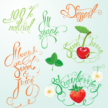 label design: Collection of organic and juice signs, elements, calligraphic phrases: 100% natural, always sweet and juice, all organic, strawberry, sweet cherry, etc. Illustration