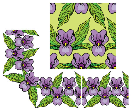 purple flower: Set of ornaments - decorativ floral border and seamless pattern with iris flowers.