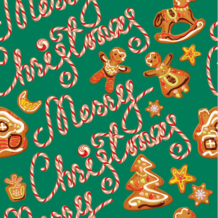xmas star: Seamless pattern with xmas gingerbread - cookies in people, star, horse and fir-tree branches. Hand written candy calligraphic text Merry Christmas on green background. Element for holiday Card design Illustration