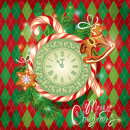 checked background: Holiday Card with watch, candy, xmas gingerbread and fir tree branches on checked background. Hand written calligraphic text Merry Christmas.