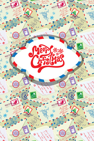 envelops: Greeting card with xmas stamps, envelops, labels, cards, hand written texts, Christmas and New Year postage background for winter holidays design.
