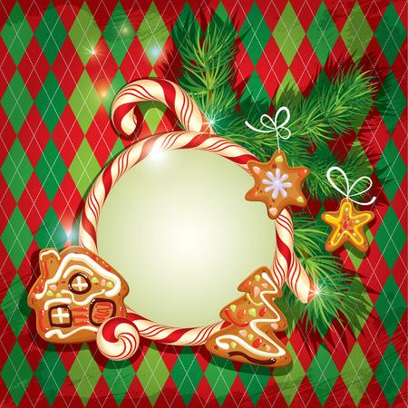 casita de dulces: Tarjeta de felicitaci�n de A�o Nuevo d�a de fiesta con navidad del pan de jengibre - �rbol, las estrellas y los dibujos animados de la casa, marco dulces y ramas de abeto en el fondo facturado. Vectores
