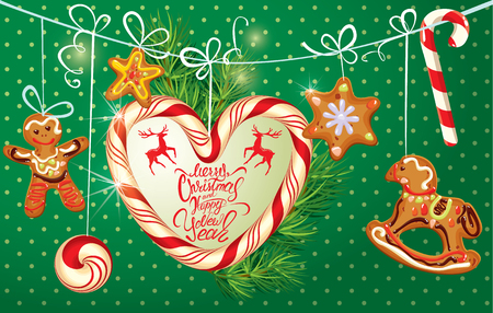 firtree: Holiday greeting Card with xmas gingerbread - man, stars and horse cartoons, candy frame in heart shape and fir-tree branches. Hand written calligraphic text Merry Christmas and Happy New Year on polka dots green background. Illustration