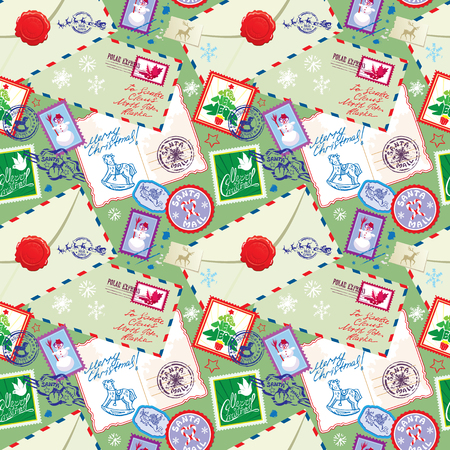 envelops: Seamless pattern with xmas stamps, envelops, labels, cards, hand written texts, Christmas and New Year postage background for winter holidays design.