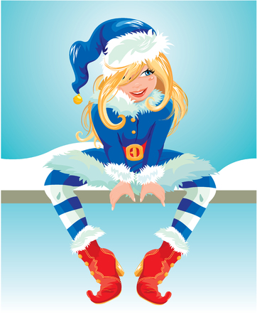 blondy: Blondy girl wearing blue Santa Claus costume. Christmas and New Year card. Element for winter holidays design.