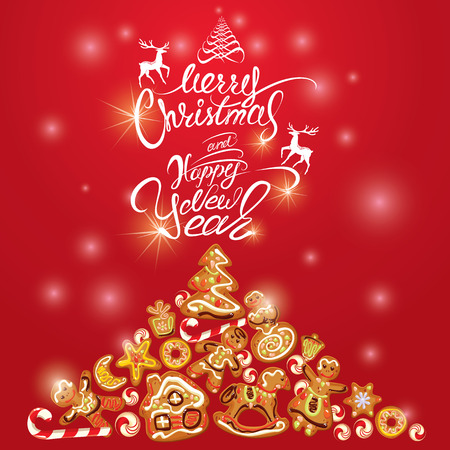 xmas star: Greeting holiday Card of xmas gingerbread - cookies in angel, star, house, horse, reindeer and fir-tree branches. Hand written calligraphic text Merry Christmas and Happy New Year on red background.