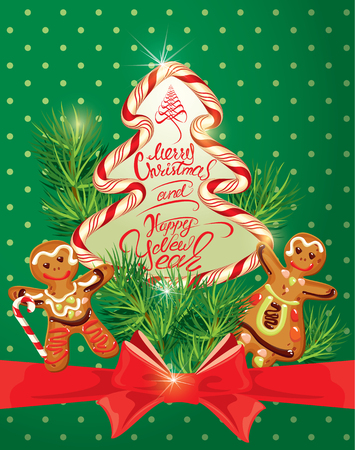decorated: Holiday greeting Card with xmas gingerbread - man and woman cartoons, candy and fir-tree branches. Hand written calligraphic text Merry Christmas and Happy New Year on polka dots green background.