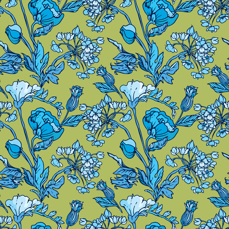 sweet pea: Seamless pattern with flowers - poppy and sweet pea in blue colors - hand drawn background.