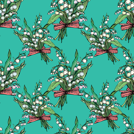 lily of the valley: Seamless pattern with Lily of the valley - vintage engraved illustration of spring flowers on blue background